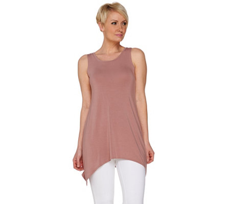 """As Is"" LOGO Luna by Lori Goldstein Knit Tank with Asymetric Hem"