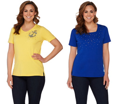 """As Is"" Quacker Factory Set of 2 Summer Sparkle Short Sleeve T-shirts"