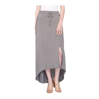 Peace Love World Hi-Low Hem French Terry Knit Maxi Skirt