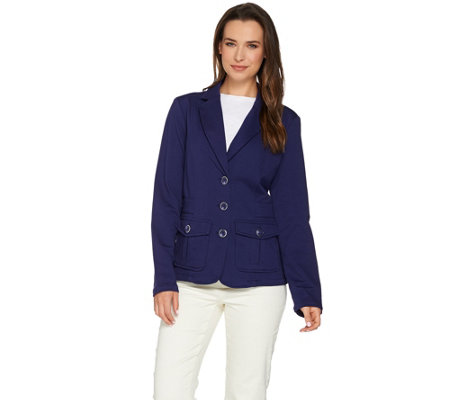 """As Is"" Isaac Mizrahi Live! Knit Utility Jacket With Patch Pockets"