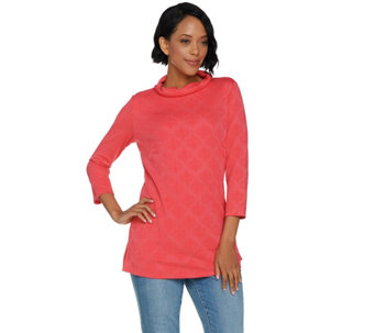 Dennis Basso Jacquard Knit Roll Neck Top - A291572