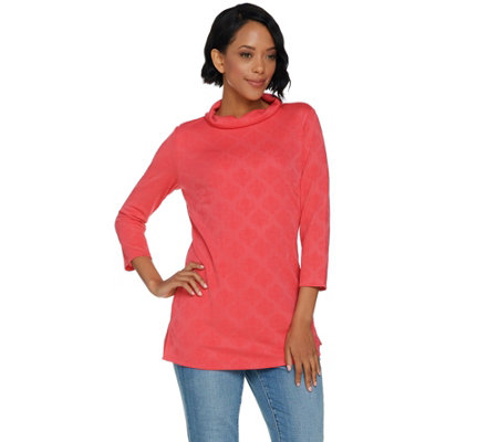 Dennis Basso Jacquard Knit Roll Neck Top