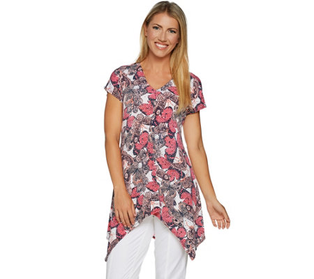Attitudes by Renee Butterfly Print Cap Sleeve Tunic