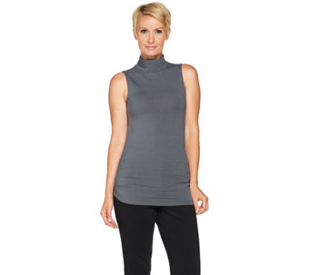 """As Is"" Kathleen Kirkwood Mock Turtleneck Side Ruched Tank Top - A292872"