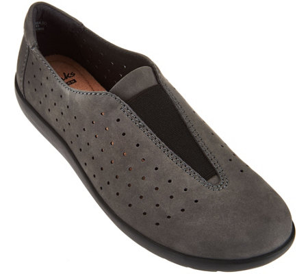"""As Is"" Clarks Perforated Nubuck Leather Slip-On Shoes Medora Gemma"