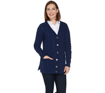 """As Is"" C. Wonder Cable Knit Cardigan with Embellishments - A293672"