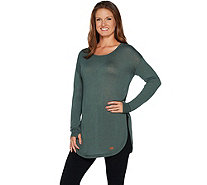 Peace Love World Sweater Knit Tunic with Tulip Hem - A294972