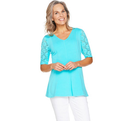 Denim & Co Fit & Flare Stretch Lace Elbow Sleeve