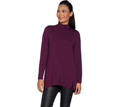 H by Halston Essentials Mock Neck Tunic w/ Forward Seams - A296772