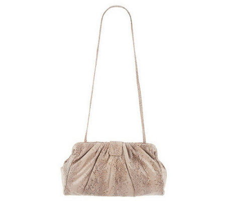 """As Is"" Hobo Pleated Leather Angela 2 in 1 Clutch & Shoulder Bag"