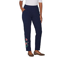 Denim & Co. French Terry Floral Embroidered Ankle Pants - A305772