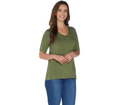 H by Halston Essentials V-Neck Top with Forward Notch Detail