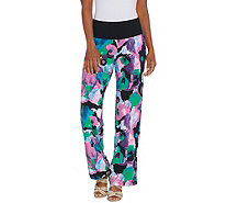 Women with Control Petite Como Jersey Tummy Control Printed Pants - A306472