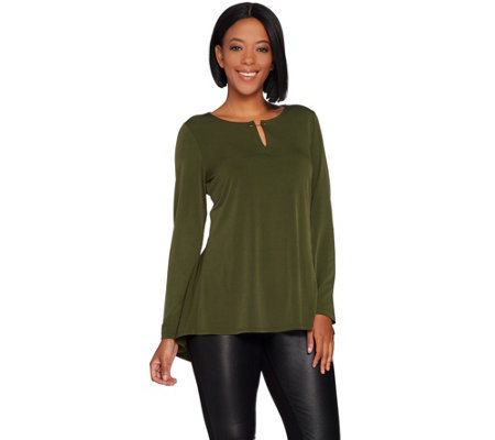 """As Is"" Susan Graver Liquid Knit Top with Keyhole Trim"