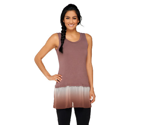 """As Is"" LOGO by Lori Goldstein Knit Tank with Ombre Chiffon Trim"