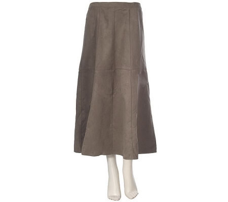 Louis Dell'Olio Faux Suede Mid-Calf Riding Skirt w/Seam Detail