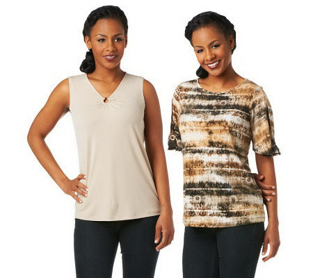 Susan Graver Set of Two Liquid Knit Tops with Ring Detail