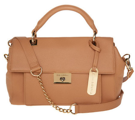Emma & Sophia Leather Flap Front Satchel w/ Turn Lock Closure
