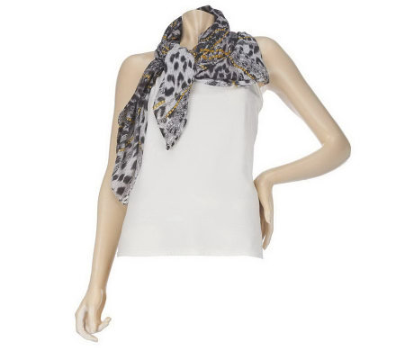 Adorn by Wendy Williams Animal Print with Chain Motif Scarf
