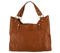 Pebble Leather Shopper Handbag with Croco Trim - A225573