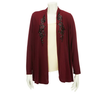 Susan Graver Sweater Knit Open Front Cardigan with Sequins