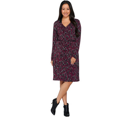 Kelly by Clinton Kelly Printed Knit Dress with Ruffle Detail