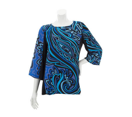 Bob Mackie's 3/4 Sleeve Scoop Neck Print Blouse w/ Shadow Sides