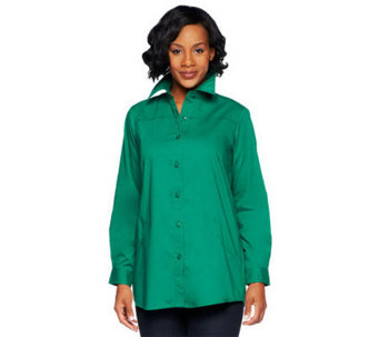 Joan Rivers Boyfriend Shirt with Scoop Pockets - A234273