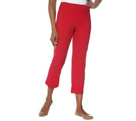 """As Is"" Women with Control Contour Waist Knit Crop Pants with Pockets"