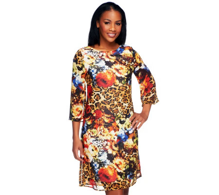 George Simonton Printed Woven Dress with 3/4 Sleeves