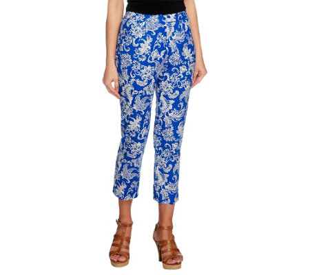 Linea by Louis Dell'Olio Printed Woven Crop Pants