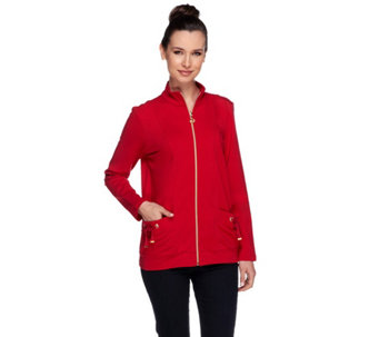 Susan Graver Weekend French Terry Zip Front Jacket with Pockets - A255373