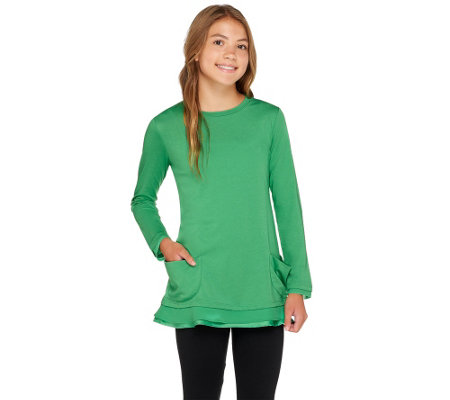 LOGO Littles by Lori Goldstein Top with Pockets and Chiffon Trim