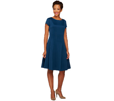 Isaac Mizrahi Live! Neoprene Cap Sleeve Flare Dress