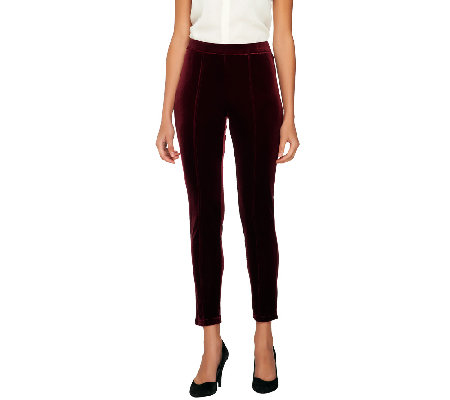 Isaac Mizrahi Live! Regular Knit Velvet Leggings