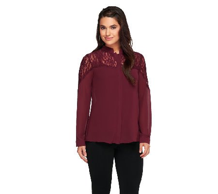 Dennis Basso Long Sleeve Button Down Top with Lace Detail