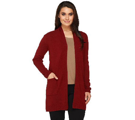 Susan Graver Plush Knit Open Front Long Cardigan
