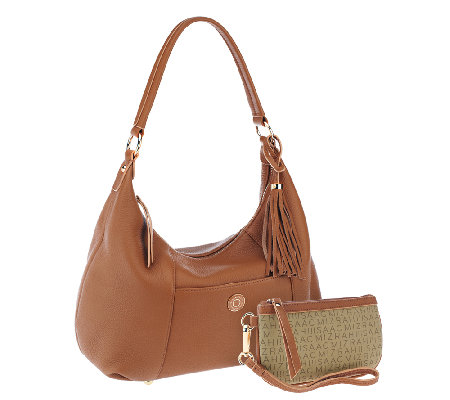 """As Is"" Isaac Mizrahi Live! Bridgehampton Leather Hobo"