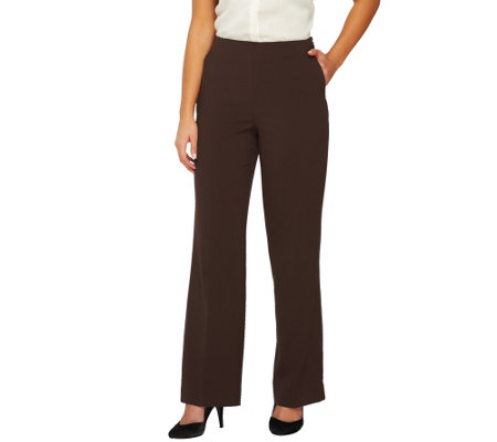 Susan Graver Chelsea Stretch No Waist Full Length Pants with Side Zip