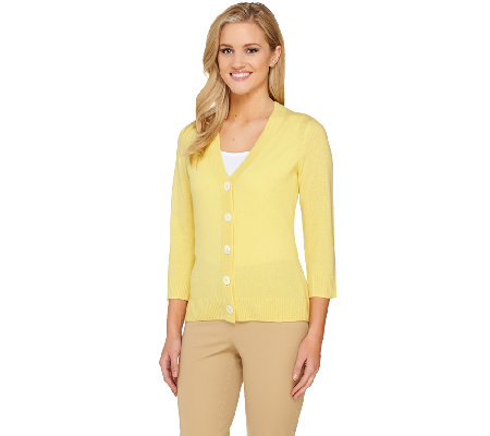 Isaac Mizrahi Live! 2-Ply Cashmere Classic V-Neck Cardigan