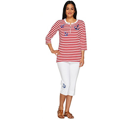 Quacker Factory Summer Fun Stripe Pullover and Capri Pant Set