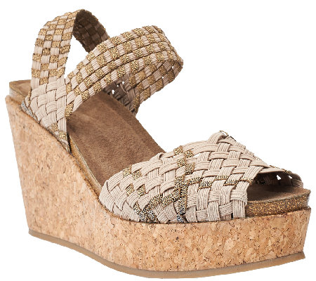 Adam Tucker Stretch Woven Open-toe Wedges - Posy