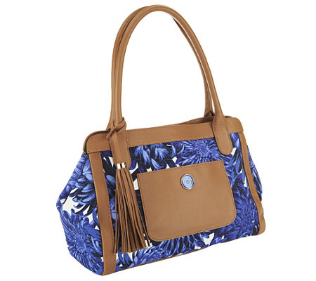 """As Is"" Isaac Mizrahi Live! Bridgehampton Printed Satchel"