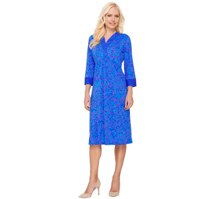 Bob Mackie's 3/4 Sleeve Batik Printed Dress with Contrast Trim