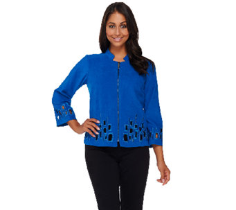 Bob Mackie's Tile Cut Out Moleskin Zip Front Jacket - A268373