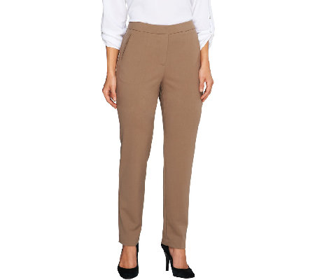 """As Is"" Susan Graver Chelsea Stretch Zip Front Pants - Petite"