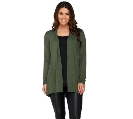 LOGO Layers by Lori Goldstein Knit Cardigan with Angled Seam Detail