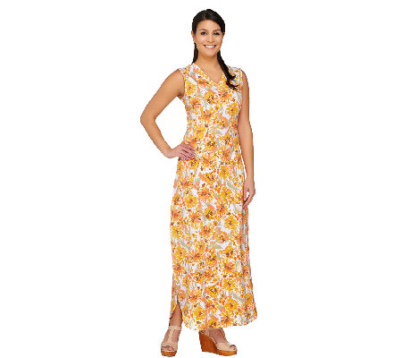 """As Is"" Denim & Co. Perfect Jersey Printed V-Neck Maxi Dress"