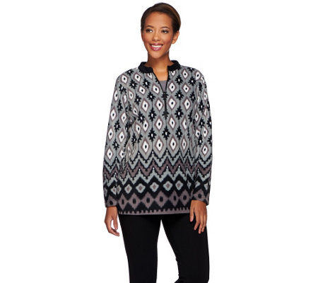 Bob Mackie's Long Sleeve Half Zip Printed Fleece Pullover