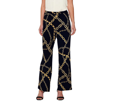 Susan Graver Printed Liquid Knit Comfort Waist Wide Leg Pull-On Pants